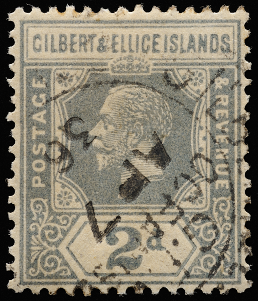 Gilbert & Ellice Islands unified keyplate King George V 2d slate-grey SG30 1922
