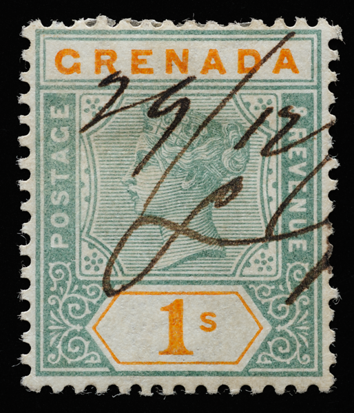 Grenada Queen Victoria 1s SG55 with pen cancel