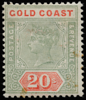 Sperati forgery (photo-lithography) of Gold Coast Queen Victoria 20s green and red SG24