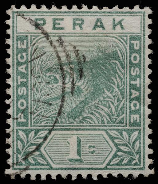 Perak tiger 1892 1c green SG61