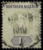 Northern Nigeria unified keyplate King Edward VII 1s 1906 SG26a on chalk-surfaced paper