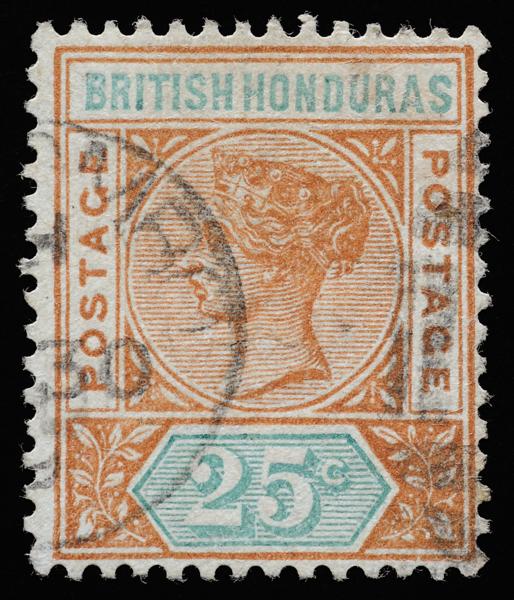 British Honduras Queen Victoria postage keyplate 25c SG61 with duplex canceller