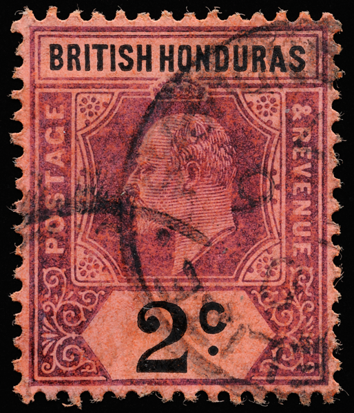 British Honduras KEVII universal unified keyplate chalky paper 2c SG85a 1906