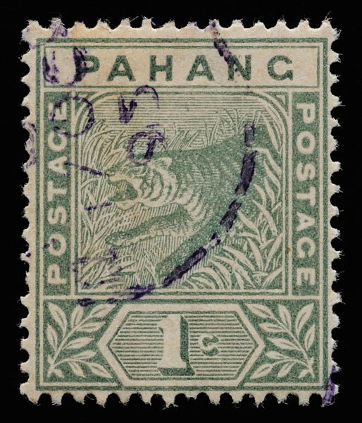 Pahang tiger Imperium Key Plate 1895 1c green with violet cds