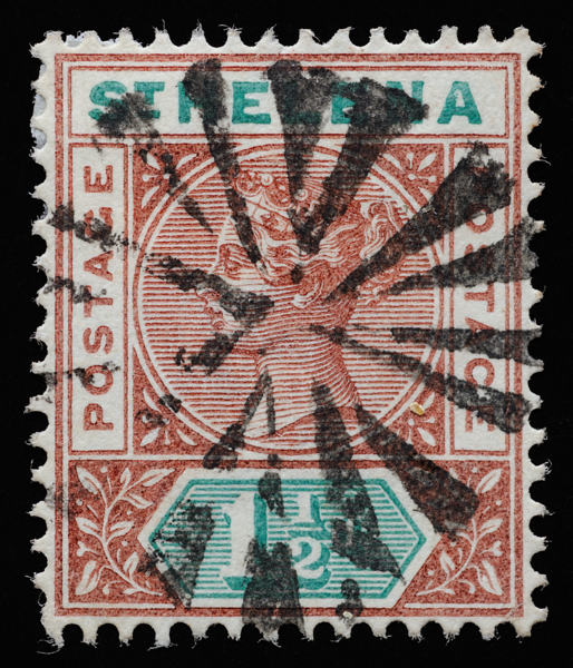 St. Helena Queen Victoria postage keyplate SG48 1890 with radial obliterator