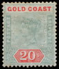 Gold Coast Queen Victoria unified keyplate 20s green and red SG24 1889