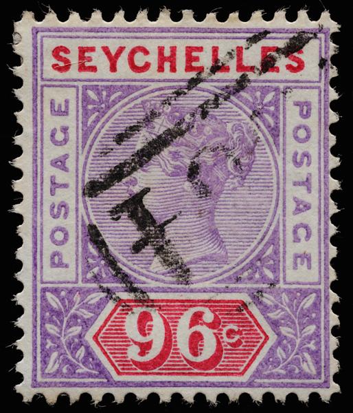 Seychelles Queen Victoria Imperium postage keyplate 96c die I SG8 used