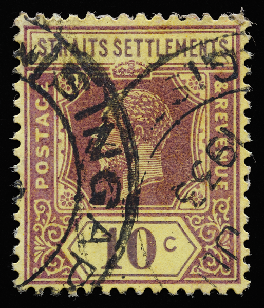 Straits Settlements KGV Imperium 10c yellow paper postmarked 1933