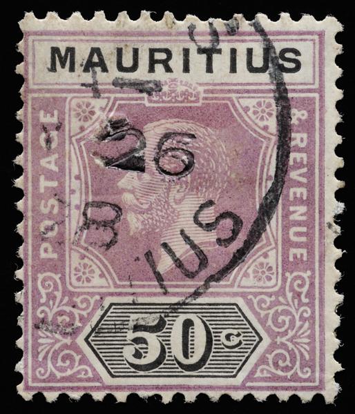 Mauritius KGV unified keyplate 50c SG237 Die II 1921