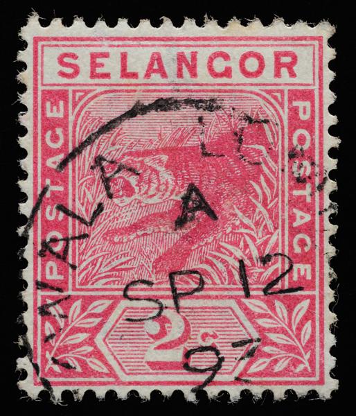 Selangor 1891 Tiger rampant definitive stamp 2c rose