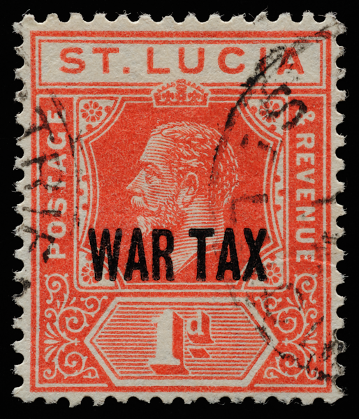 St Lucia KGV imperium 1d scarlet 1916 overprinted WAR TAX in London SG90