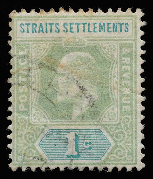 Straits Settlements KEVII Imperium definitive stamp 1c fugitive ink