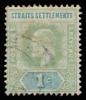 Straits Settlements KEVII Imperium definitive stamp 1c fugitive ink