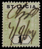 St Lucia 1s SG62 green & black 1902 with pen cancel