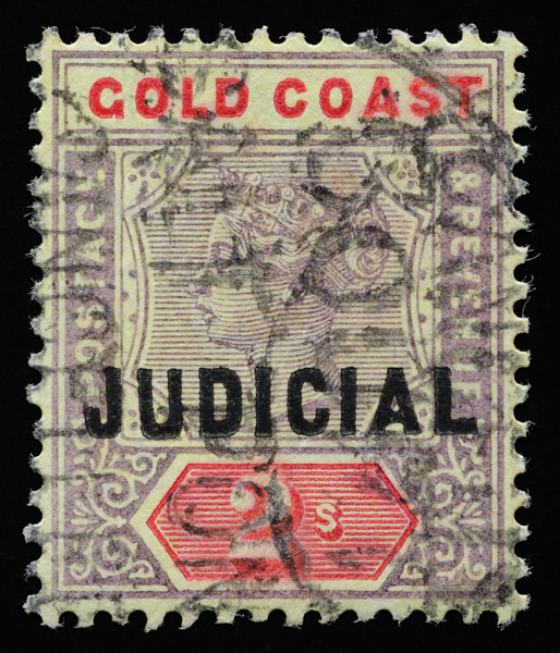 Gold Coast Queen Victoria unified keyplate 2s JUDICIAL overprint