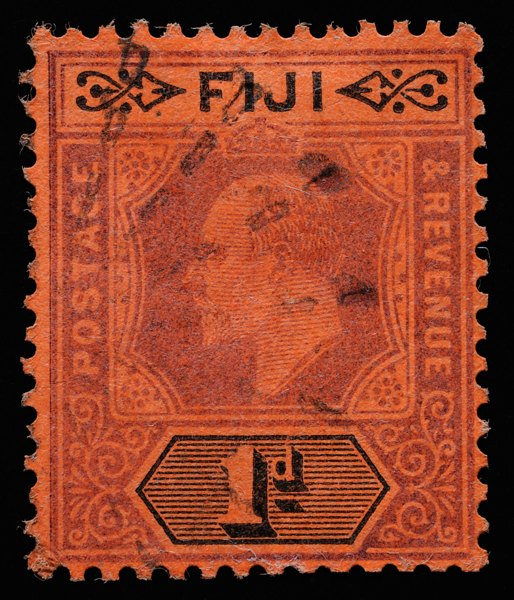Fiji 1d KEVII imperium SG105 on red paper with radial canceller