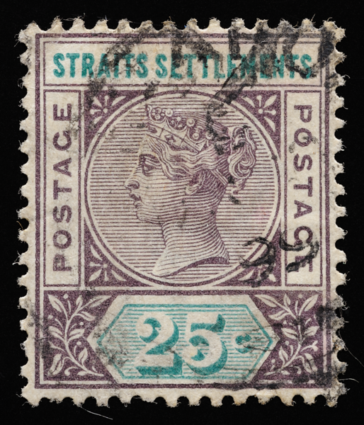 Straits Settlements Queen Victoria Imperium Key Plate 25c 1892 postmarked 1899