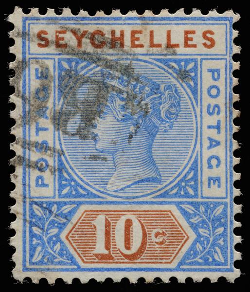 Seychelles Queen Victoria Imperium postage keyplate 10c SG4 1890
