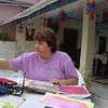 Nancy working on her journal, at the hotel rooftop