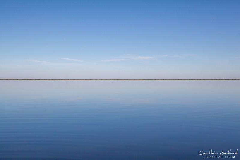Schilfhorizont, zwischen Himmel und See