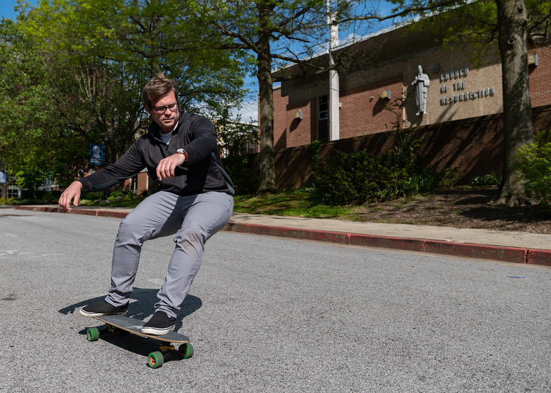Skateboarding is among the activities Deacon Evan Ponton enjoys when not studying for the priesthood. He will be ordained in August 2020 at the Cathedral of Mary Our Queen in Homeland. (Kevin J. Parks/ CR Staff)