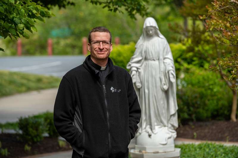 Deacon Jeremy Smith, seen here in the Mary Garden at Our Lady of Perpetual Help Church in Ellicott City May 12, 2020, will be ordained to the priesthood in August. (Kevin J. Parks/CR Staff)