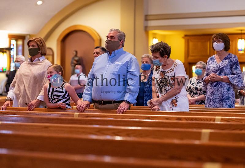St. Ignatius, Hickory, parishioners attend the August 8, 2020 diaconate ordination of Seminarian Scott Kady. (Kevin J. Parks/CR Staff)