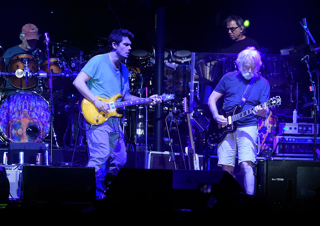 . John Mayer, left, and Bob Weir perform during the Dead & Company concert on Friday at Folsom Field on the University of Colorado campus in Boulder. For more photos of the event go to dailycamera.com Jeremy Papasso/ Staff Photographer 07/13/2018