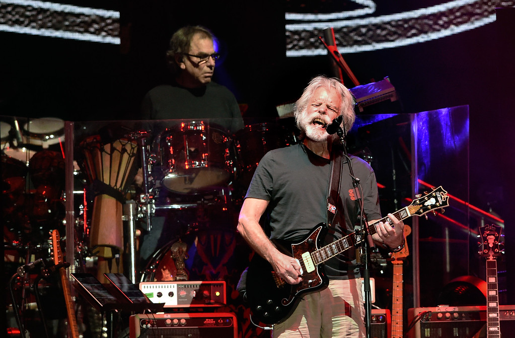 . Bob Weir sings as Mickey Hart plays the drums during the Dead & Company concert on Friday at Folsom Field on the University of Colorado campus in Boulder. For more photos of the event go to dailycamera.com Jeremy Papasso/ Staff Photographer 07/13/2018