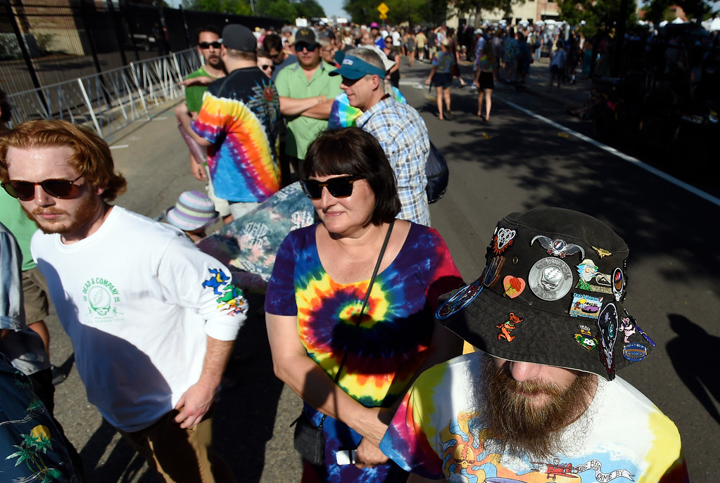 . Earl Moore, of Maryland, sports a hat full of Greatful Dead pins while waiting in line for the Dead & Company concert on Friday at Folsom Field on the University of Colorado campus in Boulder. For more photos of the event go to dailycamera.com Jeremy Papasso/ Staff Photographer 07/13/2018
