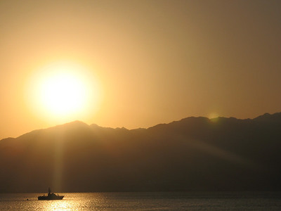 Sunrise over the Mountains of Jordan - Gulf of Aqaba, Red Sea, Sinai Peninsula Taken from Israel
