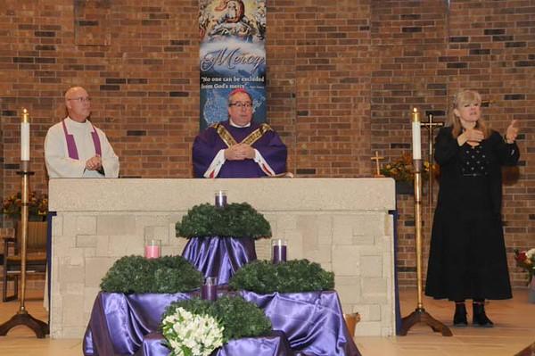 Fr. Ken Robinson, Bishop Olson, Connie Martin