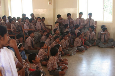 The boy students in their uniforms at the Asian Aid Deaf School near Kollegal in 2012