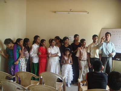 Deaf Students from the Asian Aid school sharing their faith away from the school