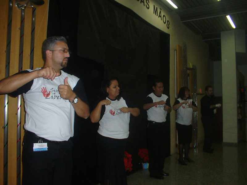 Adventist deaf in the Sao Paulo area of Brazil signing a song together.