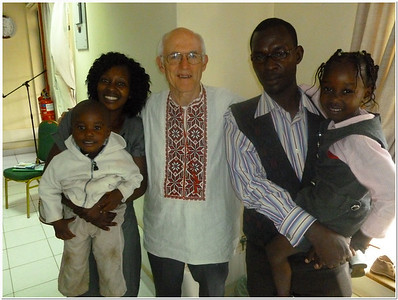 Pastor John Blake (center) with Mr. and Mrs. Henry Kamau and their two children.  Henry is the first regular Gospel Outreach worker through the church in Kenya.  Their little boy was named 'Blake' after Pastor Blake.  It was the first time that the two 'Blake's' had met, and very meaningful to them both!