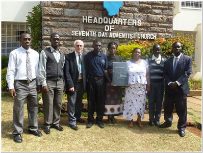 The Gospel Outreach lay Bible Workers from Kenya are shown here with Pastor Blake (white hair).   They work with about 300 deaf members spread across Kenya.   They are employees of the Adventist church in Kenya.   They are supported from Gospel Outreach,  but supervised by the church in Kenya.
