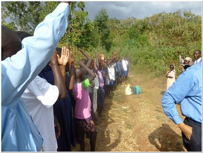 The Gospel Outreach workers, along with other helpers, have been working with deaf students in three schools.  In Feb./12, 36 of these students, seen here taking their baptismal vows, were baptized by immersion.  The founder of the little private deaf school was baptized along with some of his students.