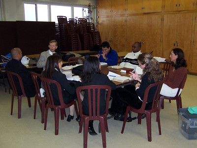 Deaf studying the Bible together in Sabbath School at the Harmony Adventist church in Toronto, Ontario, Canada