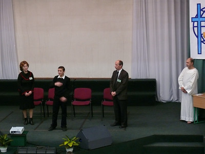 A young man, from a deaf school near Kiev, taking part in a Christian drama at the Congress