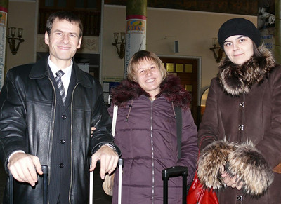 (L to R) Pastor Vasily Yagotin (deaf) and his wife, Julia (hearing) along with an English interpreter just after Pastor Blake arrived at the Lvov, Ukraine airport on Dec. 6/07