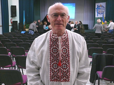 Pastor John Blake, Gospel Outreach Director for Deaf Ministry, with a beautiful top given him as a present by the deaf Congress where he spoke.