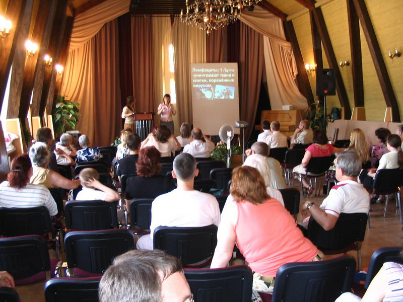 This photo is from the Adventist Deaf Church in Kiev, Ukraine.  There are 70 people in this deaf group.  In this photo, someone is giving a health talk about the Lymphocytes that destroy germs in the blood.