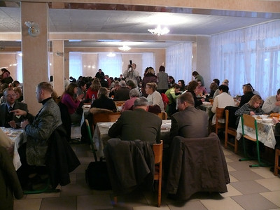 Meal time at the Euro-Asia Division Congress for the deaf held at the Ukrainian Union College not far from Kiev.