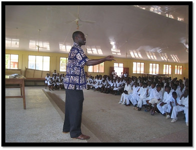 Gospel Outreach Lay Bible Worker, Harrison, as he makes a presentation to a public deaf school in Ghana.  Harrison is deaf and doing a good work - especially with deaf students.  Harrison works in conjunction with Brother Kenneth, a former teacher of the deaf.