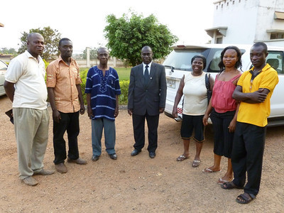Blake met these people on arriving at the Central Conference compound. Left to Right Pictures: Brother Kenneth (a helper for our Gospel Outreach worker), Pastor Henry Afoakwa helping in Deaf Ministry, a local hearing pastor who has been helpful to the deaf, Dr. Omoah, the Conference Secretary and so helpful to the deaf work, a visitor that we rode in the car with, another lady ? and Harrison Antwi, our Gospel Outreach worker for the deaf in Ghana.