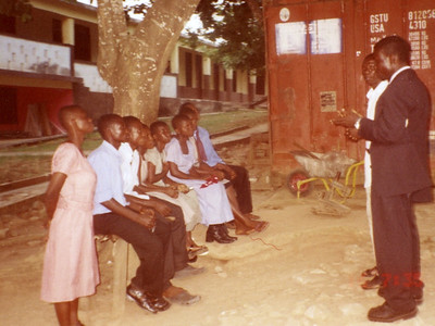 This is a group of deaf young people interested in Bible things at the Ashanti Deaf School