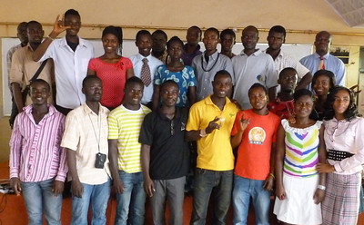 The Deaf Ministry group on Saturday afternoon, Feb. 4/12 at Kumasi during Pastor Blake's visit to visit Deaf in Ghana.  The Gospel Outreach worker, Harrison, is in the Center in the black sweater