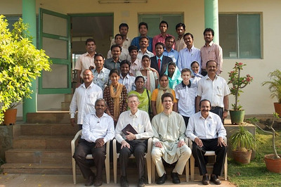 The February 2011 Gospel Outreach workshop in India for the Lay Bible Workers.  Front row left to right: Dr. Wilson (SDA Director for India), Pastor's Alfred Griffith & Jeff Jordan, and Regional Director