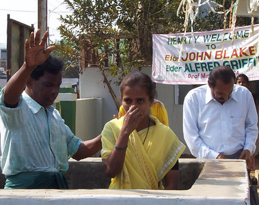 A baptism of a deaf young lady at Vizianagaram.  The baptistry is in the church yard.  Pastor's Blake and Griffith were allowed to be present at the baptisms held on church property, but not those held in a public place.